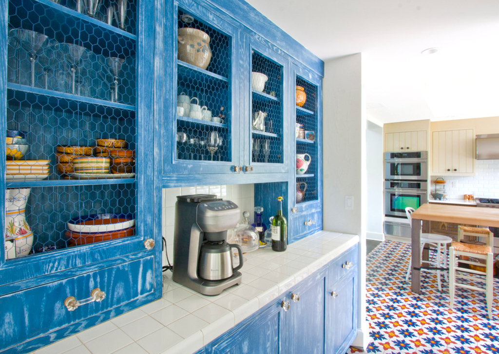 blue washed kitchen cabinets
